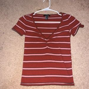 striped forever 21 blouse